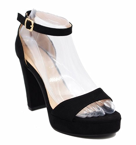 Damen Abend Sandaletten Riemchen Pumps Slingbacks Peep Toes High Heels Velours Schuhe Bequem Party 05 Schwarz