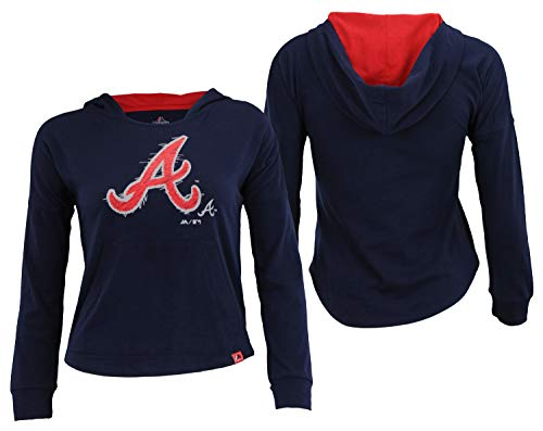 Outerstuff MLB Youth Girls Atlanta Braves The Closer Pullover Hoodie, Large