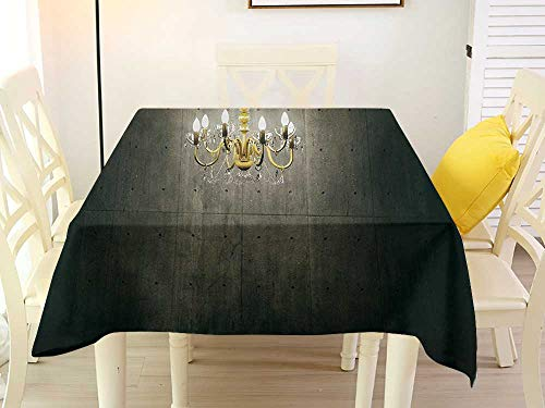 L'sWOW Transparent Square Tablecloth Grunge Classic Chandelier in a Dark Gothic Wooden Room Vintage Style Room Picture Grey and Yellow Clamps 36 x 36 Inch ()