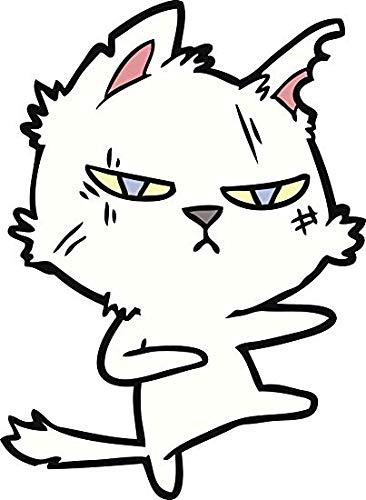 EW Designs Cute Sassy Kawaii White Kitty Cat - Angry Self Defense Vinyl Decal Bumper Sticker (12