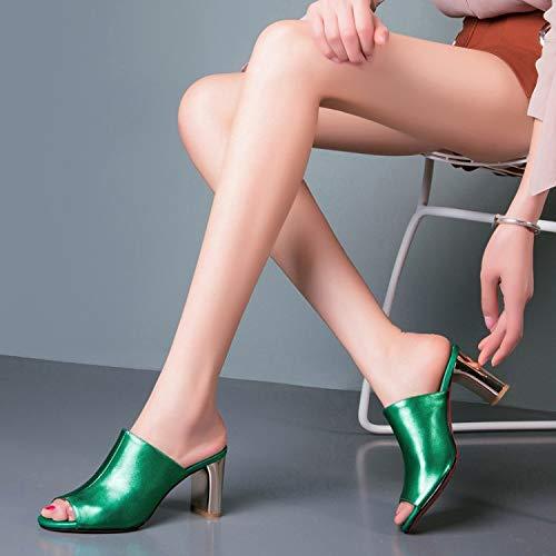 KPHY Damenschuhe Sexy Sexy Sexy Lady Dicke Sohle 18Cm Hohen Ferse Sandalen Sommer-Mode Leder Schuhe Outwear 34 Grüne 17b77d