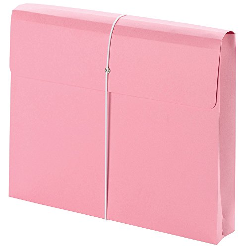 "Smead Expanding File Wallet, 2"" Expansion, Protective Flap and Cord Closure, Letter Size, Pink (77299)"