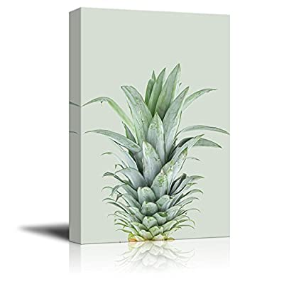 Canvas Print Wall Art - Pineapple on Retro Style Background - Gallery Wrap Modern Home Art | Ready to Hang - 12x18 inches