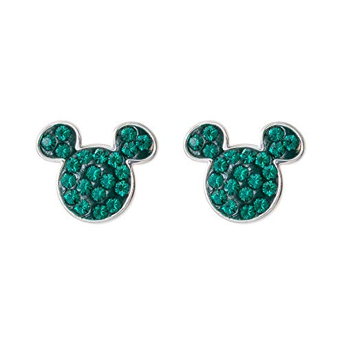 (Disney Mickey Mouse Sterling Silver Crystal May Birthstone Stud Earrings Mickey's 90th Birthday Anniversary )