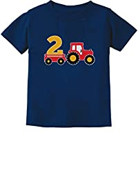 2nd Birthday Gift Construction Party 2 Year Old Boy Toddler Infant Kids T-Shirt