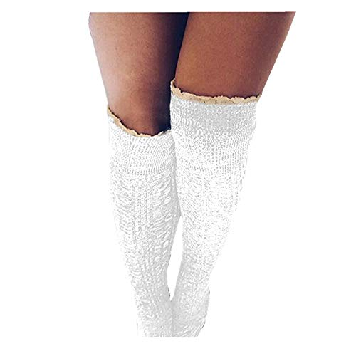 Women Lace Knit Knee High Socks Stocking Leg Warmers Crochet Slouch Boot Socks Color : White Size : One Size