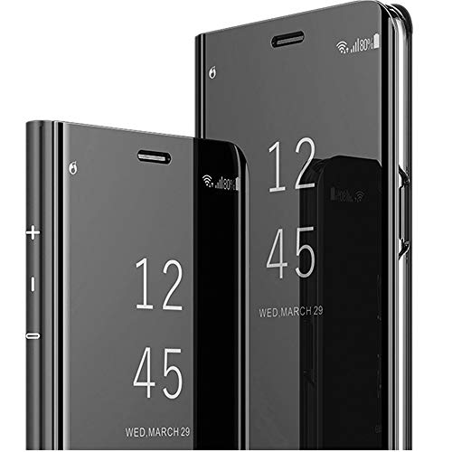 Moto G7 Mirror case Translucent Clear View Electroplate Flip Stand shockproof Protective Case Luxury Case Cover for Moto G7 (black) ()