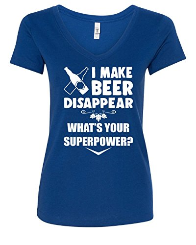Beer Womens V-neck T-shirt - I Make Beer Disappear Women's V-Neck T-Shirt Funny Drinking Superpower Booze Royal Blue XL