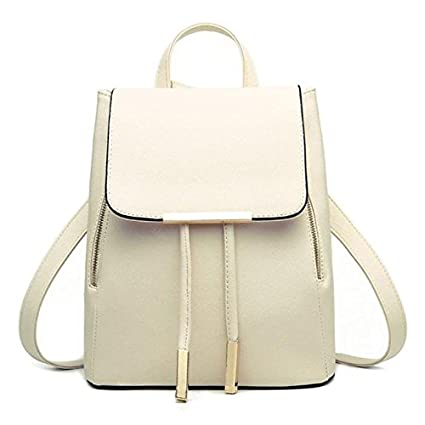 Backpacks,Han Shi Women Girls Leather Schoolbags Travel Casual Shoulder Bag Mochila (Beige,