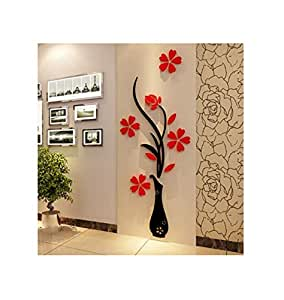 Acrylic 3D Wall Sticker Acrylic DIY Vase Flower Tree Crystal Acrylic Wall Stickers Decal Home Decor Wall Decorations Living Room Window-ee