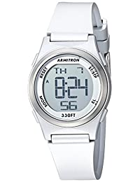 Armitron Sport Women's Digital Chronograph Silver-Tone Resin Strap Watch