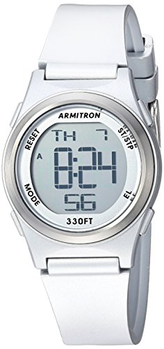 - Armitron Sport Women's Digital Chronograph Silver-Tone Resin Strap Watch