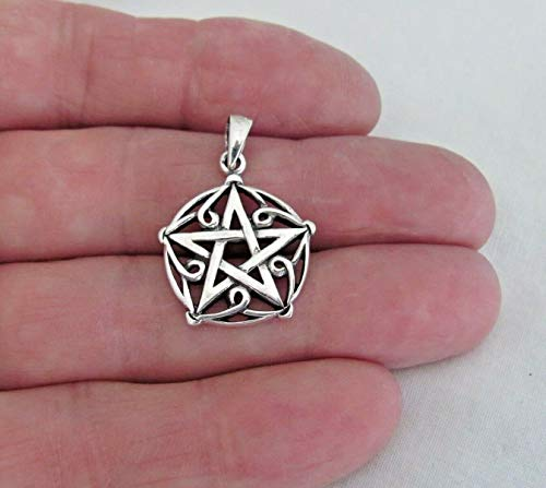 Pendant Jewelry Making/Chain Pendant/Bracelet Pendant Sterling Silver 24mm Pentagram Pendant