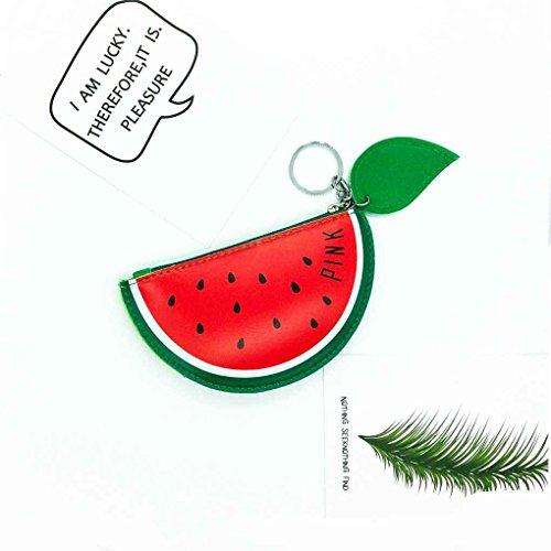Chilie Zero Wallet Girls lindo patrón de fruta de PU de cuero de cremallera mini portátiles de tarjeta de crédito titular de auriculares Bolso monedero #2 #4