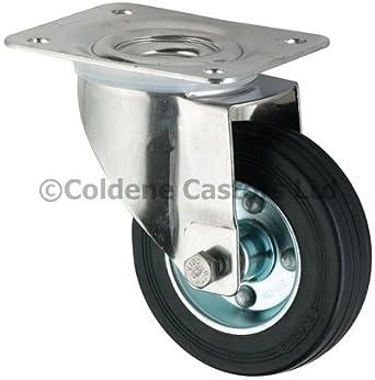 4 x Heavy Duty 200mm Rubber Swivel Castor Wheels Trolley
