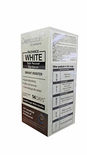 2 Packs of Dermaction Plus by Watsons Radiance White Dark Recover Eye Serum. Bright Booster, Quick absorbing, Ultra-rich formula, Dermatologically tested. (20 ml/ pack)