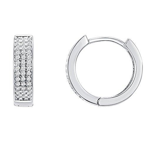 PAVOI 14K White Gold Plated Cubic Zirconia Huggie Hoop Earrings