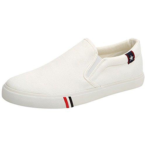wealsex Bianco Piatto Tela di di Tela Casual Scarpe Scarpe Scarpe up Donna Vulcanizzate e Unisex Lace Fondo Uomo x8HTrX8