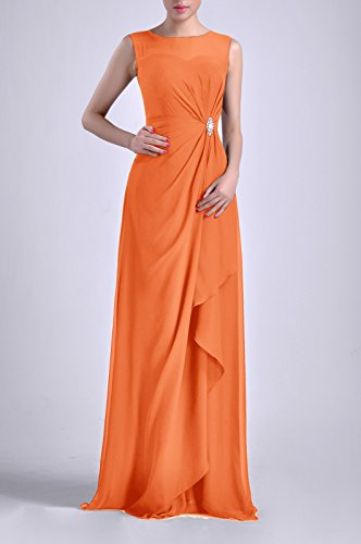 Sleeveless Long Chiffon Dress Sheath Bateau Adorona Straps Women's Natrual Tangerine qUfpxwX0