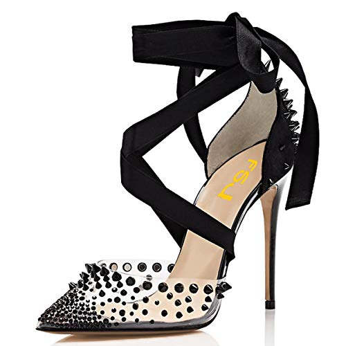 (FSJ Women High Heel Ankle Strap Sandals Pointed Toe Rivets Pumps PVC Club Shoes with Studs Size 14 Black)