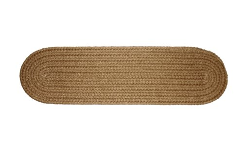 Solid polypropylene Stair Tread Braided Rug, 8 by 28-inch, Camel