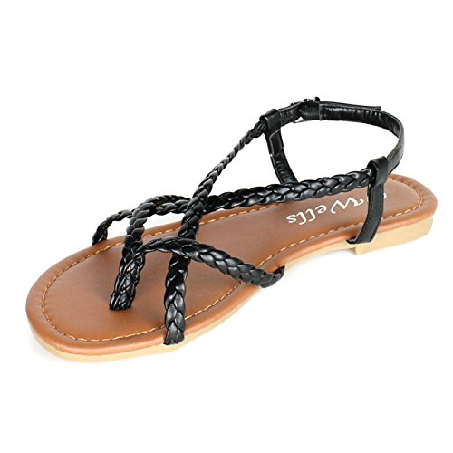 Braided Strappy Sandal (Women's Braided Strappy Gladiator Flat Sandal Y-Strap Thong Flip Flop Crossing Over Flat Sandals (7.5, Black))