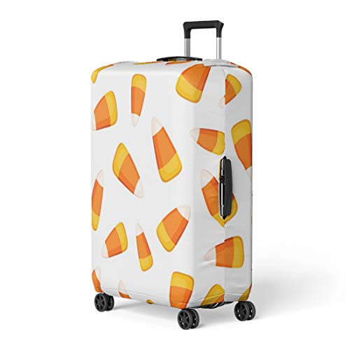 Pinbeam Luggage Cover Orange Halloween Candy Corns on Yellow Pattern Abstract Travel Suitcase Cover Protector Baggage Case Fits 18-22 -