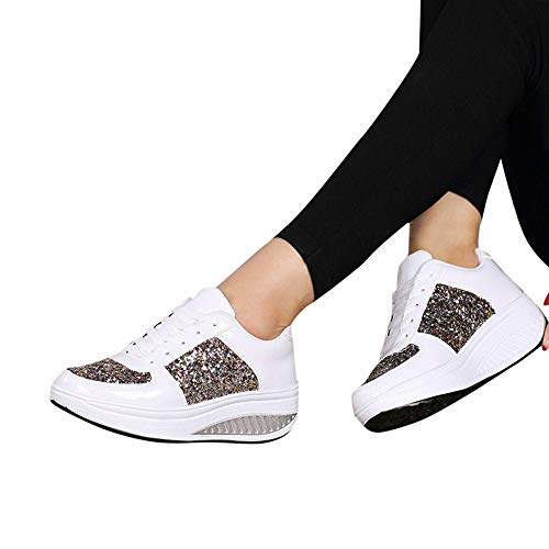 Dolly Ankle Boot - Sneakers For Women,Clearance Sale!!Farjing Wedges Sneakers Sequins Shake Shoes Fashion Girls Sport Shoes(US:6,White)