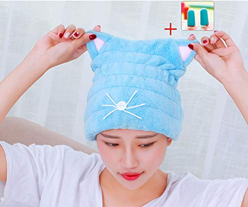 Microfiber Hair Drying Towels, Cute Bath Towel Wrap, Ultra Soft Absorbent Hair Dry Hat Cap, Quick Drying Bath Cap for Women Adults or Kids Girls (Blue)]()