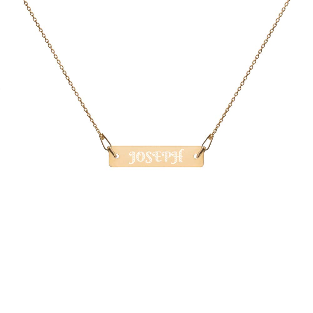 CardonC Minimalist Necklace in 24K Gold with Engraved Name Joseph for Men