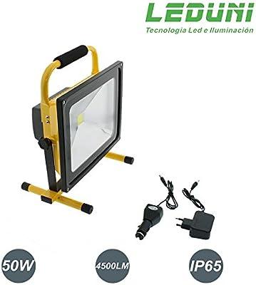 LEDUNI ® Foco Proyector LED Portátil Exterior 50W Para ...