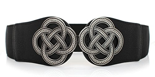Vintage Womens Wide Belt Interlock Buckle Belt Stretching Bands Waist,Black,One Size
