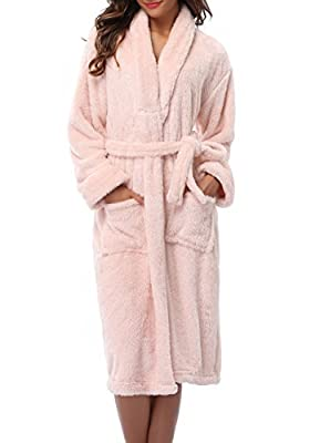 1 STMALL Long Style Thick Fleece Bathrobe Warm Robe For Women