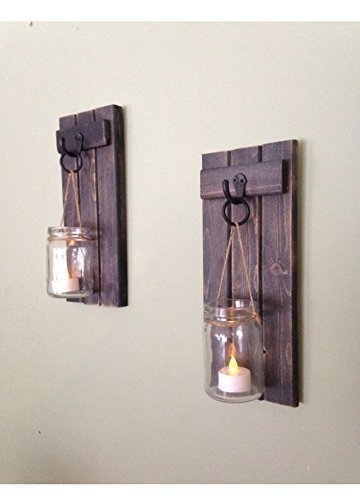 sports shoes 58582 84fc0 Wooden Wall Sconce, Mason Jar Wall Sconce, Rustic Wall Sconce, Candle  Holder, Rustic Wooden Candle Holder, Black Set Of Two, 12