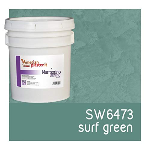 (FirmoLux Marmorino Berlina Venetian Plaster | Polished Plaster | Manufactured in Italy from Lime, Marble & Other Natural Aggregates | Green Tone Colors (13) | Color: SW6473 Surf Green)