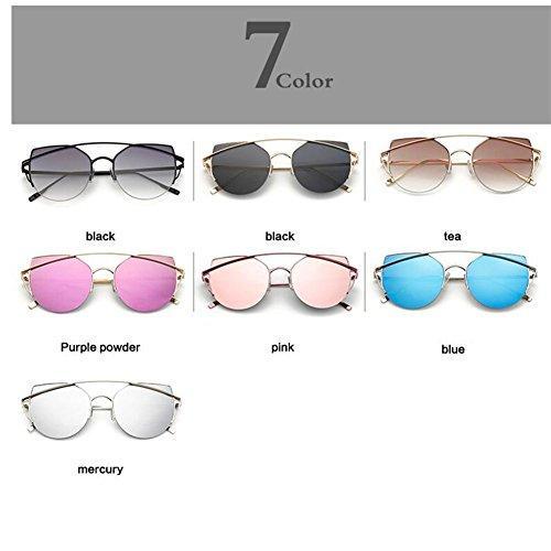 sol Eye Luxury metal UVA de WLHW Color Black2 de Women Pink Marco Gafas UVB Cat reflectante w5WIUHwq