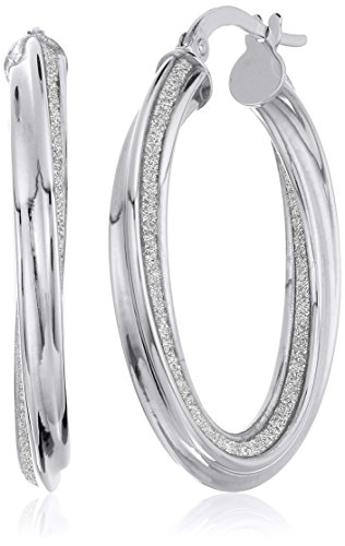 14k White Gold Italian 20 mm Twisted Tube Hoop Earrings with Pave Style Glitter Hoop Earrings