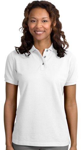 Port Authority Ladies Heavyweight Cotton Pique Polo. L420 White - Combed Cotton Golf Shirt Pique