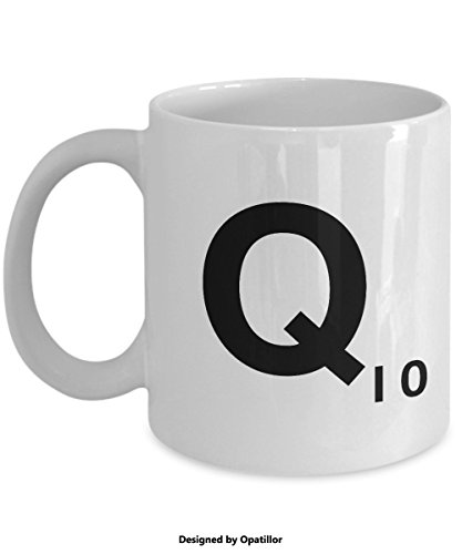 Letter Q Scrabble White Mug Tea Cup Gift - 11oz Ceramic by Opatillor
