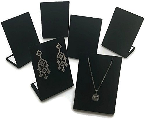 (6 pcs Black Velvet Pendant Chain Necklace and Earring Display Stand 3.5