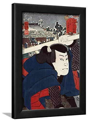 ArtEdge Actor Miyamoto Musashi, Japanese Wood-Cut Wall Art Framed Print, 16x12, Black Unmatted
