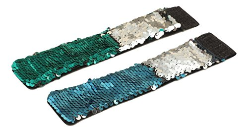 Sparklee Me Mermaid Sequin Color Changing Reversible Bracelet/Elegant Adjustable Wristband (Sea Green Silver & Light Blue ()