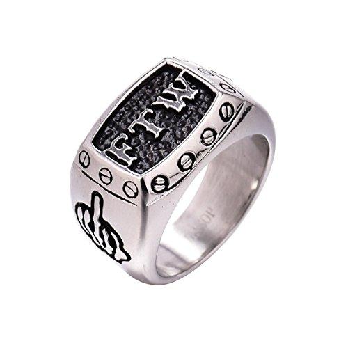 MONASOC 316L Stainless Steel FTW Biker Rider Middle Finger Rings for Women Men Size 8 -