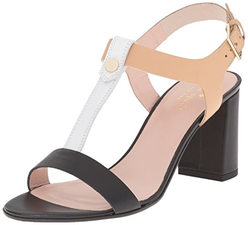 Black Italian Vachetta Leather - Kate Spade New York Women's Addie Heeled Sandal, Black/White/Natural Vachetta, 5 M US