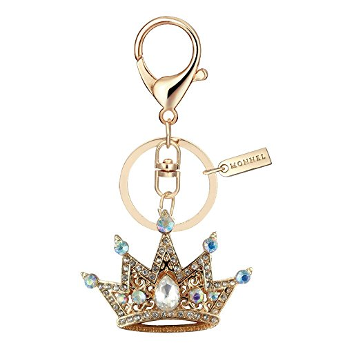 Crown Design Metal Key Chains - Bling Crystal Golden Crown Design Keychain Key Ring with Pouch Bag MZ900-3