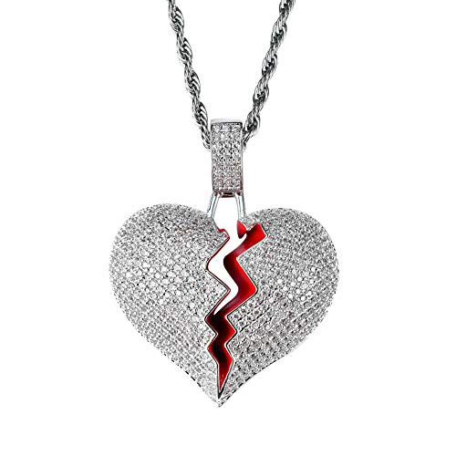 SENTERIA Hip Hop Iced-Out Men Necklace Rapper 18K Gold Plated CZ Fully Bling Bubble Broken Heart Pendant Necklace Chain for Men Women Fashion Jewelry Gifts (Silver)