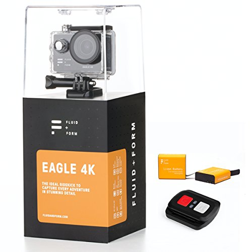 Action Camera 4K by FLUID + FORM - Quick and Easy WiFi & iSmart App - Convenient 2.4G Remote Control - Long-Lasting 1350mAh Batteries (Includes 2 Batteries)