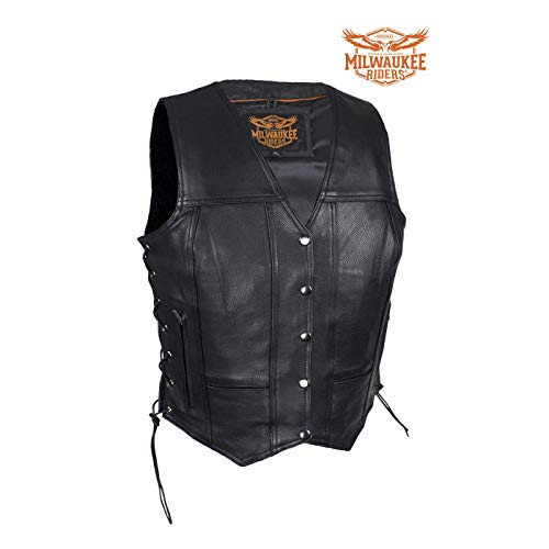 Ladies Naked Cowhide Motorcycle Jacket - Milwaukee Riders Womens Cowhide Leather Motorcycle Vest with 7 Pockets (1X)