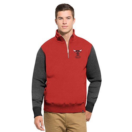NBA Chicago Bulls Men's 47 Triple Coverage 1/4-Zip Pullover Fleece, Large, Rescue Red (Nba Mens Sweatshirts)
