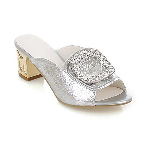 On Pu Open Solid Pull Silver Heels Slippers Women's Toe Kitten AllhqFashion IgCwqRx